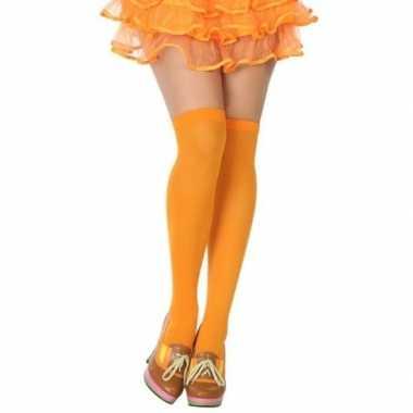 Carnavalaccessoires kousen neon oranje voor damescarnavalskleding