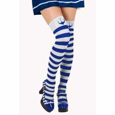 Carnavalaccessoires matroos kousen blauw/wit voor damescarnavalskledi