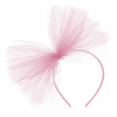 Carnavalaccessoires roze haarband met tule strikcarnavalskleding