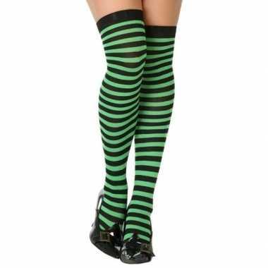 Carnavalaccessoires verkleed gestreepte kousen zwart/groen voor dames