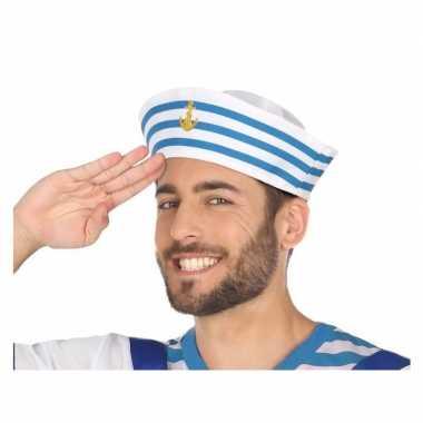 Carnavalaccessoires wit/blauw matrozen petje voor herencarnavalskledi