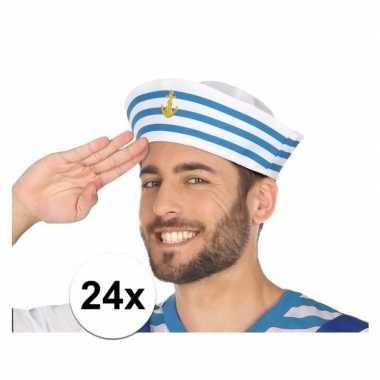 Carnavalaccessoires wit/blauw matrozen petjes 24 stukscarnavalskledin