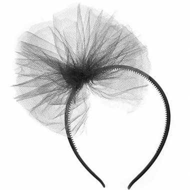 Carnavalaccessoires zwarte haarband met tule strikcarnavalskleding