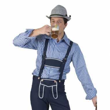 Carnavalskleding blauw/witte overhemd voor heren