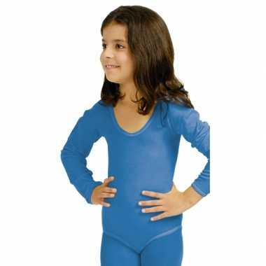 Carnavalskleding blauwe body met lange mouwen voor meisjes