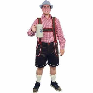 Carnavalskleding bruine lederhosen broek voor heren