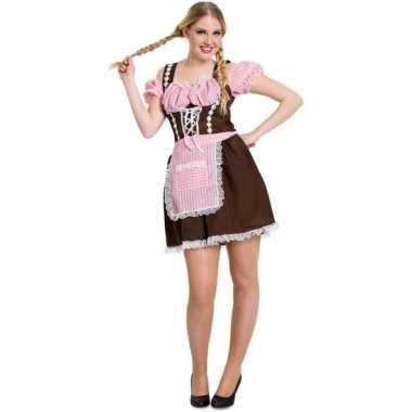 Carnavalskleding bruine/roze dirndl jurk voor dames