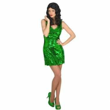 Carnavalskleding disco jurk groen voor dames