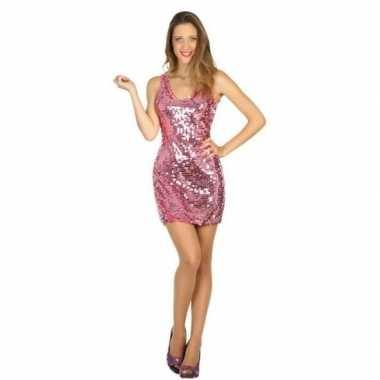 Carnavalskleding disco jurk roze voor dames