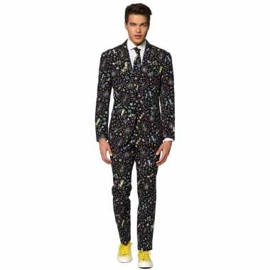 Carnavalskleding disco print net pak voor heren