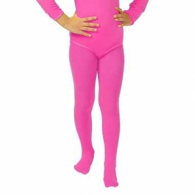 Carnavalskleding felroze kinder panty