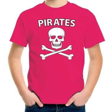 Carnavalskleding fout piraten shirt roze kids