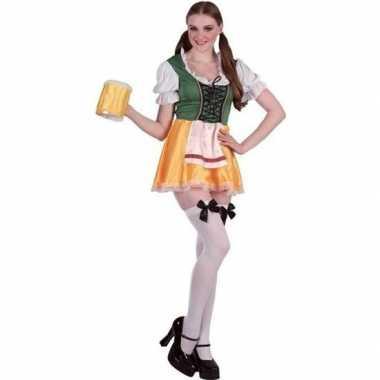 Carnavalskleding groene/gele dirndl jurk voor dames