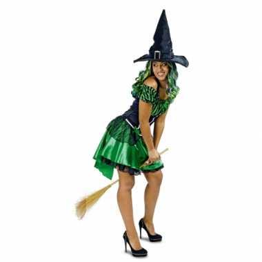 Carnavalskleding groene heksen jurk alexia voor dames