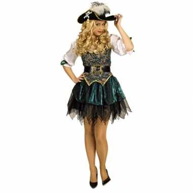 Carnavalskleding groene piraten jurk voor dames