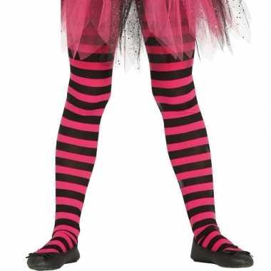 Carnavalskleding/halloween roze/zwarte heksen panties/maillots verkle