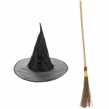 Carnavalskleding heksen accessoires heksenhoed en heksenbezem 100 cm