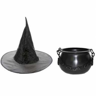 Carnavalskleding heksen accessoires heksenhoed en heksenketel 25 cm voor meisjes kinderen carnavalsk