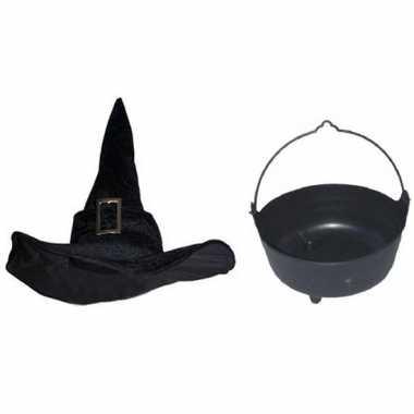 Carnavalskleding heksen accessoires heksenhoed en heksenketel voor da