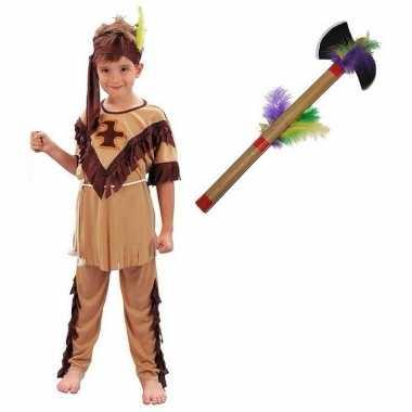 Carnavalskleding indiaan met tomahawk maat l voor jongens meisjes carnavalskleding