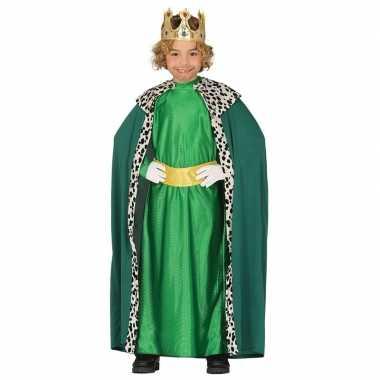 Carnavalskleding koning groen met cape voor jongens