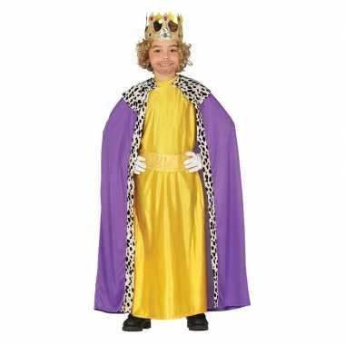 Carnavalskleding koning paars/geel met cape voor jongens