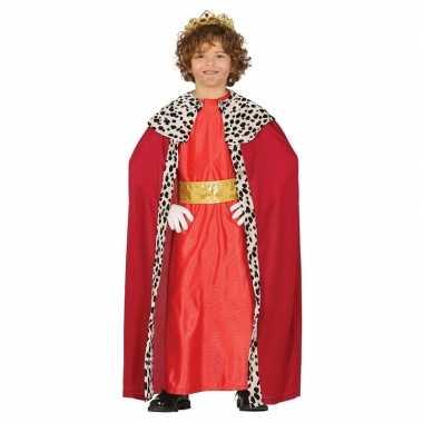 Carnavalskleding koning rood met cape voor jongens