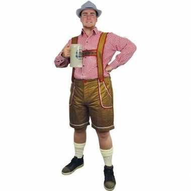 Carnavalskleding lichtbruine lederhosen broek voor heren carnavalskleding