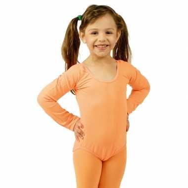Carnavalskleding oranje body met lange mouwen voor meisjes