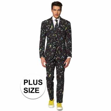 Carnavalskleding plus size disco print net pak voor heren