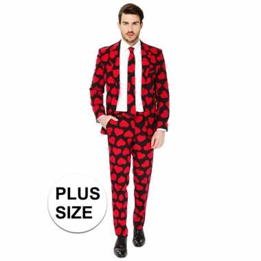 Carnavalskleding plus size rode hartjes print net pak voor heren