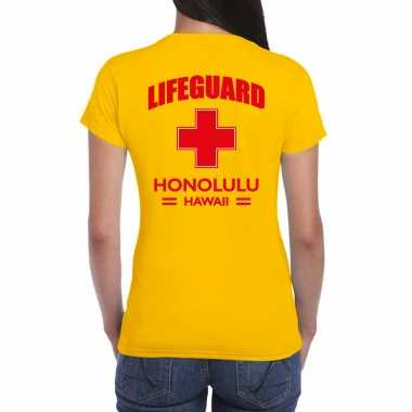 Carnavalskleding reddingsbrigade/ lifeguard honolulu hawaii shirt geel / achter bedrukking dames