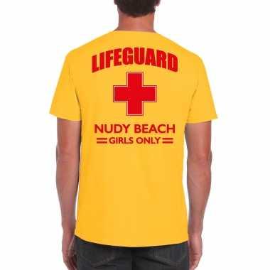 Carnavalskleding reddingsbrigade/ lifeguard nudy beach girls only shirt geel / achter bedrukking heren
