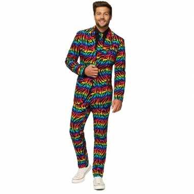Carnavalskleding regenboog print net pak voor heren