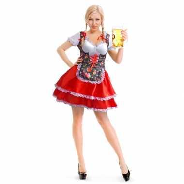 Carnavalskleding rode/bloemen motief dirndl jurk voor dames