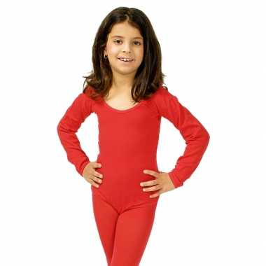 Carnavalskleding rode body met lange mouwen voor meisjes