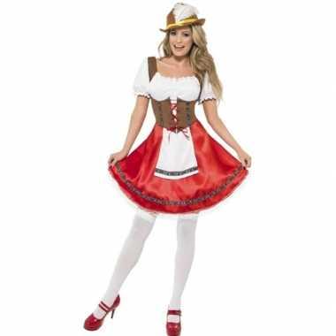 Carnavalskleding rode/bruine dirndl jurk voor dames