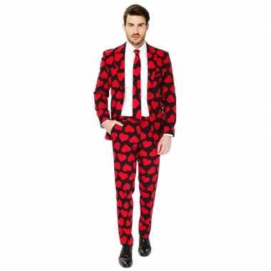Carnavalskleding rode hartjes print net pak voor heren