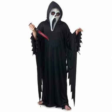 Carnavalskleding scream/scary movie skelet moordenaars cape met capuc