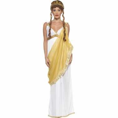 Carnavalskleding wit/gouden griekse jurk voor dames