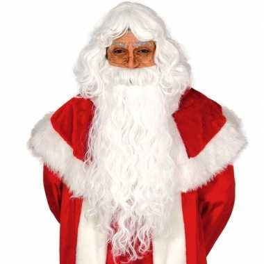 Carnavalskostuum accessoire kerstman baard met pruik setcarnavalskled