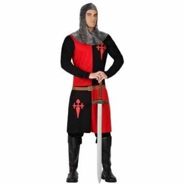 Carnavalskostuum middeleeuwse ridder zwart/ rood voor herencarnavalsk