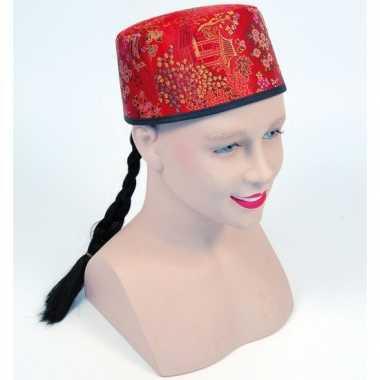 Chinees hoedje met vlechtcarnavalskleding