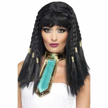 Cleopatra pruik met vlechtjes carnavalskleding