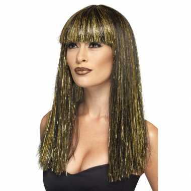 Cleopatra pruik zwart goud carnavalskleding
