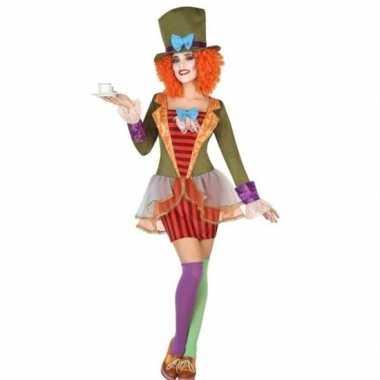 Clown met hoge hoed verkleed set voor dames carnavalskleding