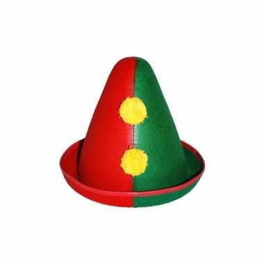 Clownshoed rood/groen voor volwassenencarnavalskleding