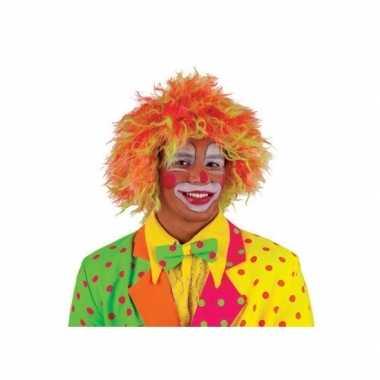 Clownspruik felle kleuren volwassenencarnavalskleding