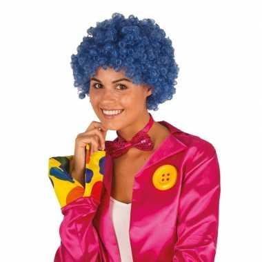 Clownspruik met blauwe krulletjes verkleed accessoirecarnavalskleding