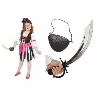 Compleet carnavalskleding set piraat voor meisjes